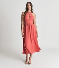 REISS ORLA HALTERNECK MIDI DRESS CORAL ~ halter neck occasion dresses ~ feminine summer event wear