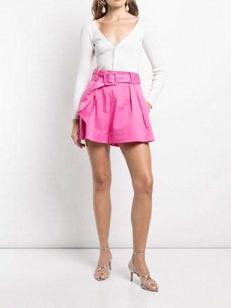 Oscar de la Renta belted A-line shorts in hot pink - flipped