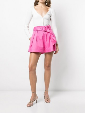 Oscar de la Renta belted A-line shorts in hot pink
