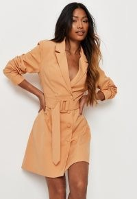 MISSGUIDED peach belted blazer mini dress / orange jacket dresses / womens on trend going out fashion