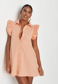 MISSGUIDED peach poplin frill sleeveless shirt dress / ruffle sleeve dresses