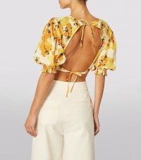 PEONY Vacation Crop Top in Citrus / cropped open back tops / womens fruit print summer fashion