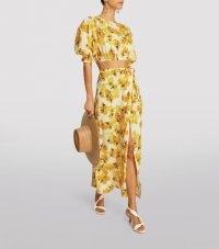 PEONY Wrap Maxi Skirt in Citrus / fruit print tie waist skirts