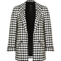 RIVER ISLAND Petite black check print blazer ~ womens checked petite size blazers ~ women's on trend jackets
