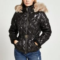 RIVER ISLAND Petite black quilted puffer coat / high shine belted faux fur tim coats