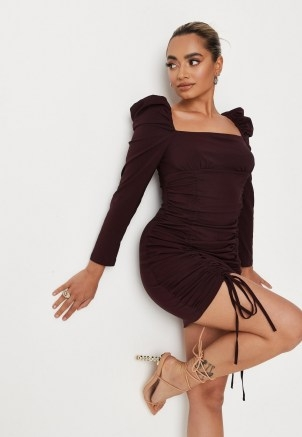 MISSGUIDED petite chocolate ruched milkmaid long sleeve dress ~ brown puff sleeve square neck dresses - flipped