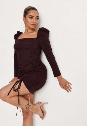 MISSGUIDED petite chocolate ruched milkmaid long sleeve dress ~ brown puff sleeve square neck dresses