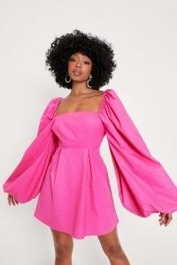Nasty Gal Petite Extreme Puff Sleeve Mini Dress | womens pink on trend dresses