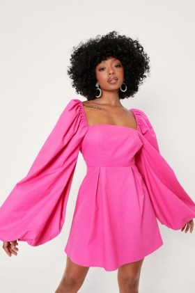 Nasty Gal Petite Extreme Puff Sleeve Mini Dress   womens pink on trend dresses - flipped