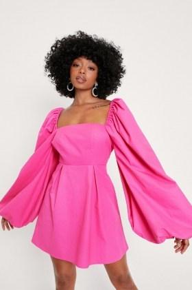 Nasty Gal Petite Extreme Puff Sleeve Mini Dress   womens pink on trend dresses