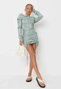 MISSGUIDED petite sage poplin ruched mini dress ~ green gathered puff sleeve dresses ~ womens on trend fashion