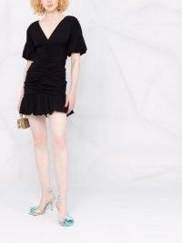 Philosophy Di Lorenzo Serafini V-neck peplum dress ~ ruched detail LBD ~ glamorous puff sleeve evening dresses