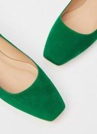 L.K. BENNETT PHYLLIS GREEN SUEDE FLATS / chic square toe ballerinas