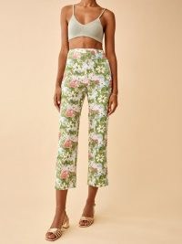 REFORMATION Pinegrove Linen Pant Summer Of Love / womens floral print crop leg trousers