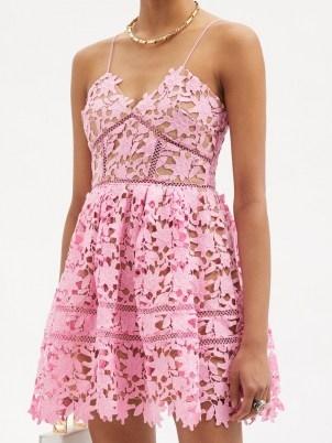 SELF-PORTRAIT Azalea pink floral guipure-lace mini dress ~ spaghetti strap fit and flare occasion dresses ~ summer event wear ~ feminine fashion - flipped