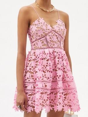 SELF-PORTRAIT Azalea pink floral guipure-lace mini dress ~ spaghetti strap fit and flare occasion dresses ~ summer event wear ~ feminine fashion