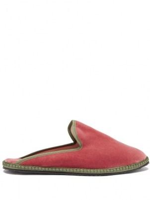 VIBI VENEZIA Backless pink velvet furlane slippers - flipped