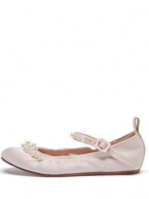 SIMONE ROCHA Beaded pink satin Mary Jane flats / bead embellished flat shoes / feminine ballerinas / luxe ballerina Mary Janes - flipped