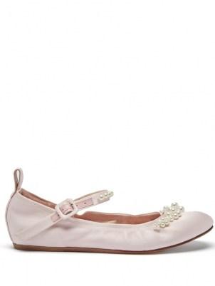 SIMONE ROCHA Beaded pink satin Mary Jane flats / bead embellished flat shoes / feminine ballerinas / luxe ballerina Mary Janes