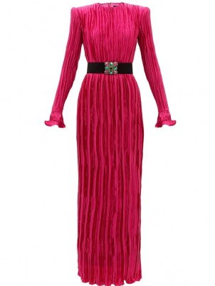 ANDREW GN Belted pink silk plissé-satin gown ~ long sleeve floor sweeping gowns ~ glamorous event wear ~ designer occasion dresses