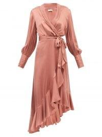 ZIMMERMANN Pink bishop-sleeve silk wrap midi dress ~ fluid fabric ruffle trim dresses ~ chic boho fashion