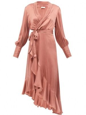 ZIMMERMANN Pink bishop-sleeve silk wrap midi dress ~ fluid fabric ruffle trim dresses ~ chic boho fashion - flipped
