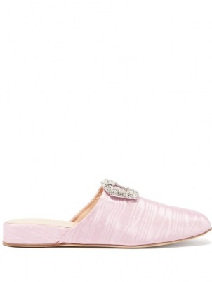 RUPERT SANDERSON Bulolo crystal-buckle pink moiré backless loafers / womens luxe buckled loafer shoes / women's footwear with shiny crystals - flipped