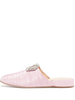 RUPERT SANDERSON Bulolo crystal-buckle pink moiré backless loafers / womens luxe buckled loafer shoes / women's footwear with shiny crystals