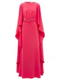 CAROLINA HERRERA Pink cape-back floral-appliqué crepe gown ~ elegant event gowns ~ womens designer occasion dresses
