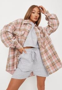MISSGUIDED pink check brushed back oversized shacket ~ womens on trend checked shackets
