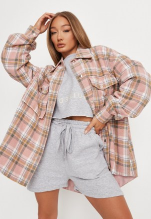 MISSGUIDED pink check brushed back oversized shacket ~ womens on trend checked shackets - flipped