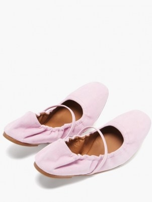 MALONE SOULIERS Cher pink suede ballet flats ~ flexable ballerinas ~ flat front strap ballerina shoes - flipped
