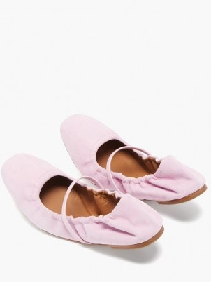 MALONE SOULIERS Cher pink suede ballet flats ~ flexable ballerinas ~ flat front strap ballerina shoes