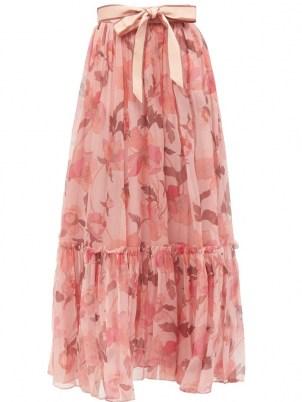 ZIMMERMANN Concert pink floral-print silk-chiffon maxi skirt ~ feminine ruffle hem skirts ~ romantic style fashion - flipped