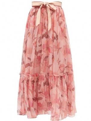 ZIMMERMANN Concert pink floral-print silk-chiffon maxi skirt ~ feminine ruffle hem skirts ~ romantic style fashion