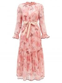 ZIMMERMANN Concert ruffled floral-print chiffon midi dress in pink ~ romantic ruffle trim dresses ~ feminine fashion