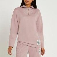 RIVER ISLAND Pink couture zip neck sweatshirt ~ womens pullover sweatshirts