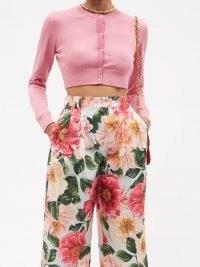 DOLCE & GABBANA Cropped pink silk cardigan ~ womens crop hem cardigans