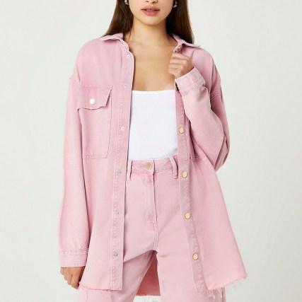 RIVER ISLAND Pink denim long sleeve shirt ~ womens casual oversized longline shirts ~ raw curved hem - flipped