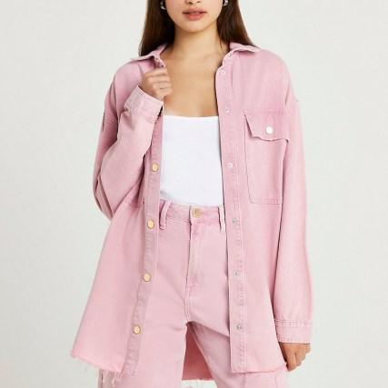 RIVER ISLAND Pink denim long sleeve shirt ~ womens casual oversized longline shirts ~ raw curved hem
