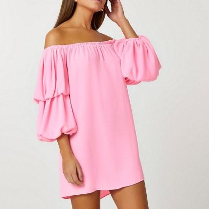 RIVER ISLAND Pink double puff sleeve bardot mini dress ~ off the shoulder dresses - flipped