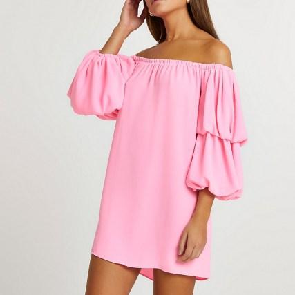 RIVER ISLAND Pink double puff sleeve bardot mini dress ~ off the shoulder dresses