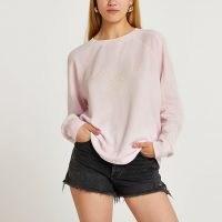 RIVER ISLAND Pink embroidered graphic sweatshirt ~ womens slogan sweatshirts