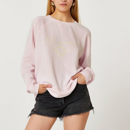 RIVER ISLAND Pink embroidered graphic sweatshirt ~ womens slogan sweatshirts - flipped