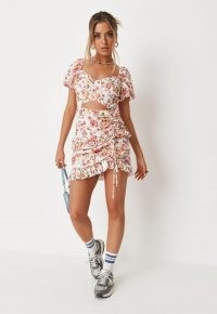 MISSGUIDED pink floral print ruched front cut out mini dress ~ puff sleeve ruffle trim dresses ~ womens on trend fashion ~ gathered detail