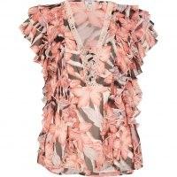 RIVER ISLAND Pink floral print ruffled top ~ romantic ruffle trim flutter sleeve tops