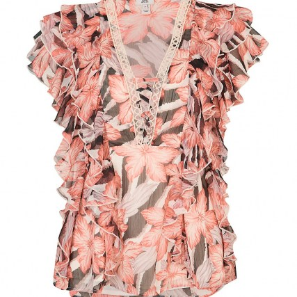 RIVER ISLAND Pink floral print ruffled top ~ romantic ruffle trim flutter sleeve tops - flipped