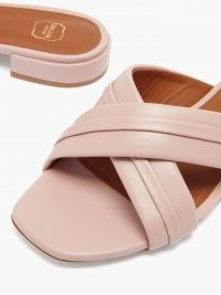 MALONE SOULIERS Gavi pink crossover-strap leather slides ~ womens open toe sliders
