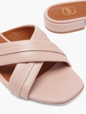 MALONE SOULIERS Gavi pink crossover-strap leather slides ~ womens open toe sliders - flipped