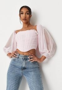 MISSGUIDED pink mesh puff sleeve corset crop top